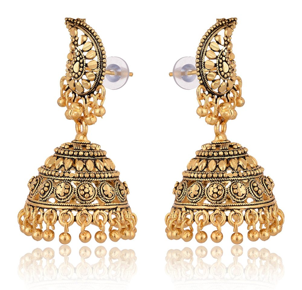 Artificial Gold And Black Base Metal Jhumki Earrings For Women 1