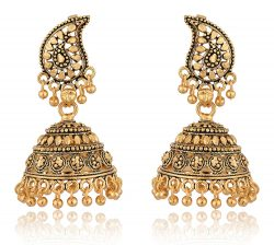 artificial gold and black base metal jhumki earrings for women