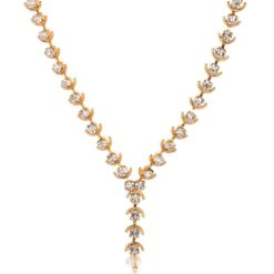 Artificial Gold Base Metal Strand White Stone Studded Necklace for Women-2