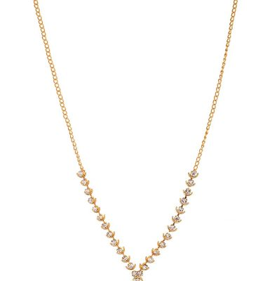 Artificial Gold Base Metal Strand White Stone Studded Necklace for Women-3