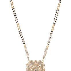 artificial gold base metal white stone studded mangalsutra for women-1