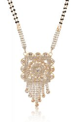 artificial gold base metal white stone studded mangalsutra for women