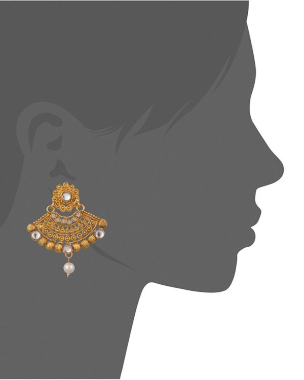 Artificial Gold Plated Dangle & Drop Earring with Maang Tikka Set for Women-1