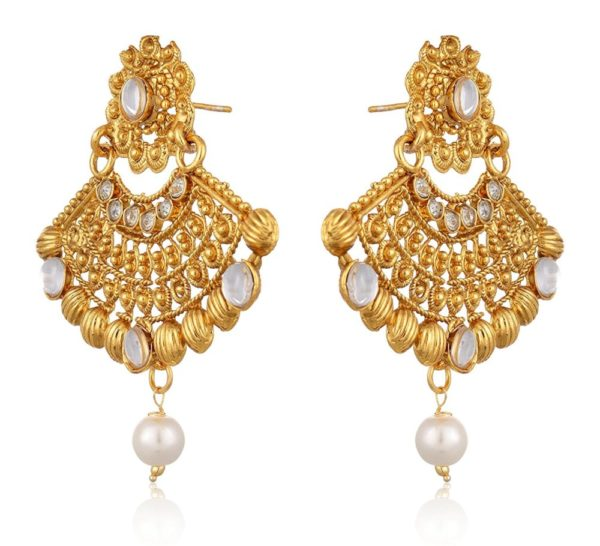 Artificial Gold Plated Dangle & Drop Earring with Maang Tikka Set for Women-2