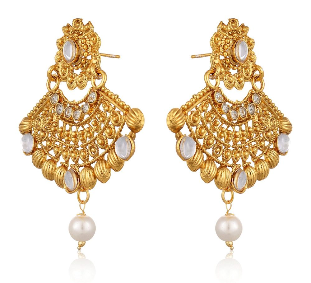 Artificial Gold Plated Dangle Drop Earring With Maang Tikka Set For Women 2