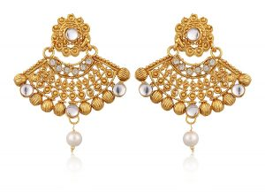 Artificial Gold Plated Dangle & Drop Earring with Maang Tikka Set for Women-3