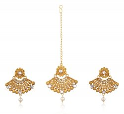 Artificial Gold Plated Dangle & Drop Earring with Maang Tikka Set for Women-5