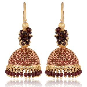 artificial golden base metal purple colour bead bali earrings for women