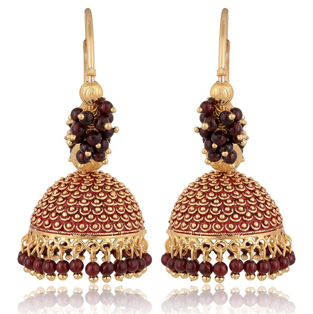 a5e1e689b Artificial Golden Base Metal Purple Colour Bead Bali Earrings