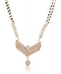 artificial golden base metal white stone studded mangalsutra for women