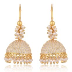 artificial golden clustered off white pearls base metal bali earrings for women