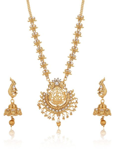 Artificial Golden Copper Base South Indian Temple Jewelry Set for Women
