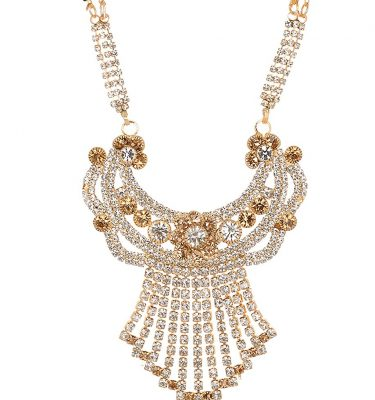 artificial imitation gold base metal with gold and white stone studded mangalsutra for women