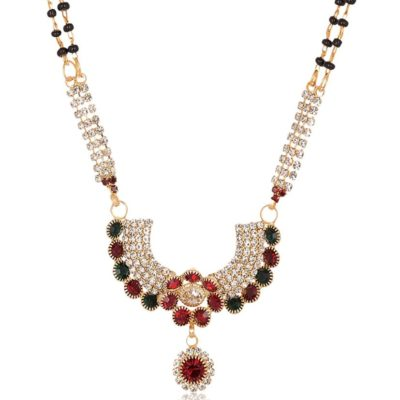 artificial imitation golden base metal green, red and white stone studded mangalsutra for women