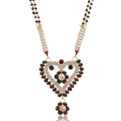 artificial imitation golden base metal red and green floral motif mangalsutra for women
