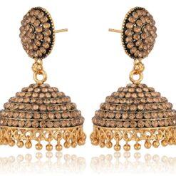 artificial imitation golden stone studded base metal jhumki earrings for women-1