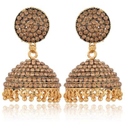 artificial imitation golden stone studded base metal jhumki earrings for women