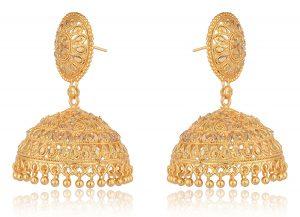 artificial imitation golden traditional base metal jhumki earrings for women-1