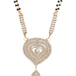 artificial indian traditional mangalsutra with white stone studded for women