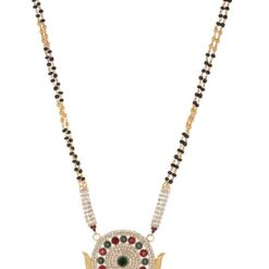 artificial reeti fashions gold base metal maroon and white stone studded mangalsutra for women-1