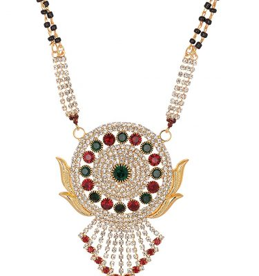 artificial reeti fashions gold base metal maroon and white stone studded mangalsutra for women