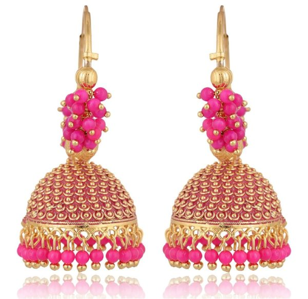 artificial traditional golden base metal pink clustered beads bali for women