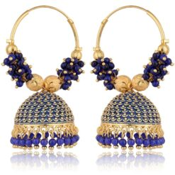 artificial traditional royal blue colour clustered beads golden base metal bali earrings for women