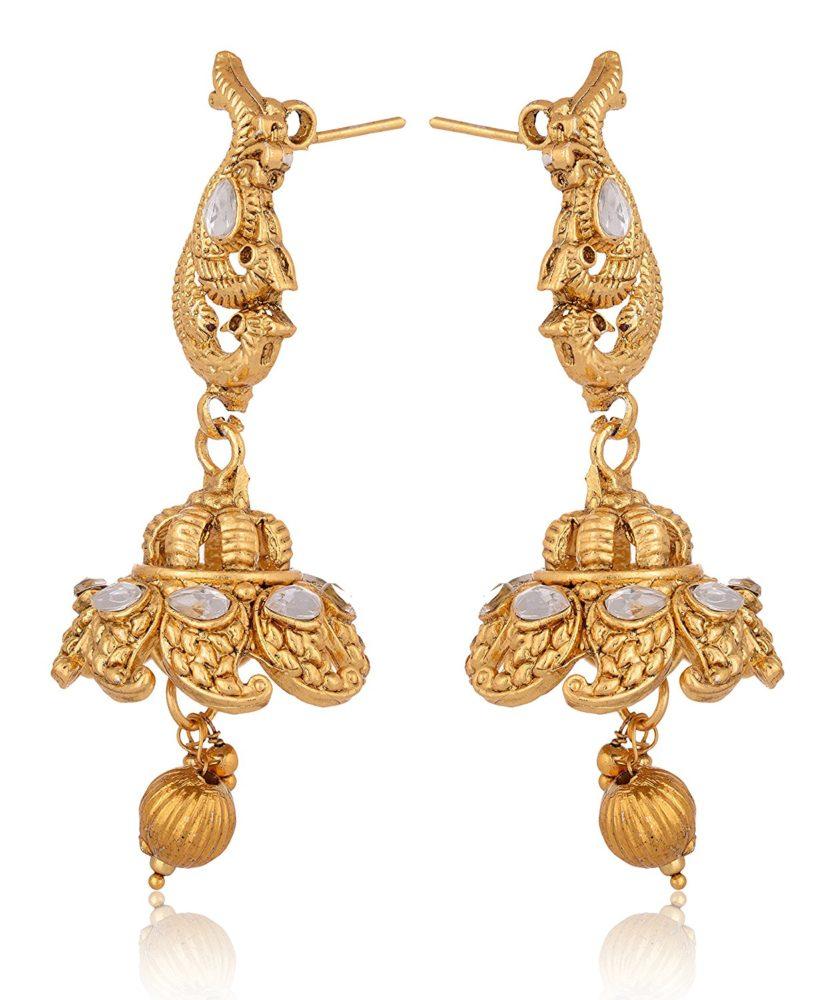Imitation Gold tone Floral motif necklace set