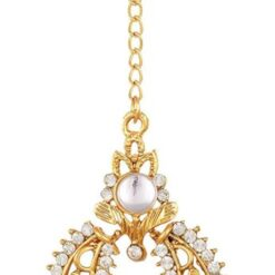 Imitation Gold Plated Dangle & Drop Earring with Maang Tikka Set for Women-4