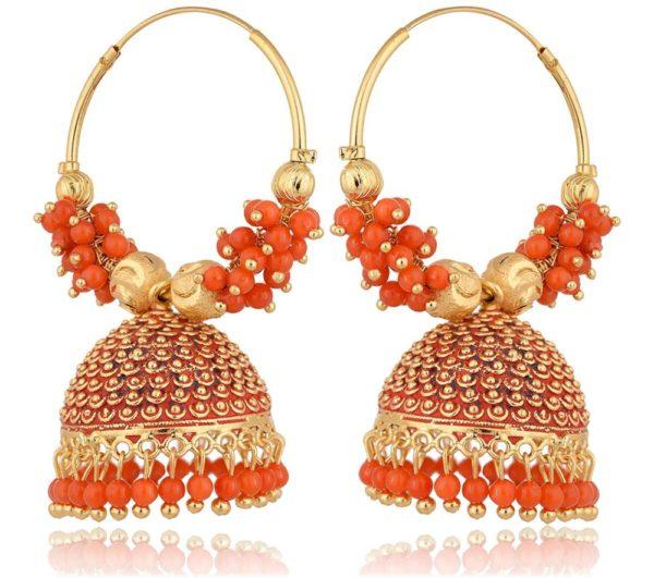 Imitation Golden and Orange Base Metal Clustered Beads Bali Earrings for Women-1