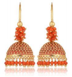 Imitation Golden and Orange Base Metal Clustered Beads Bali Earrings for Women