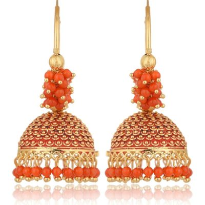 Imitation Golden and Orange Base Metal Clustered Beads Bali Earrings for Women