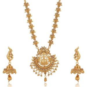 Imitation artificial traditional south indian temple jewelry in gold tone jewelry set for women-4