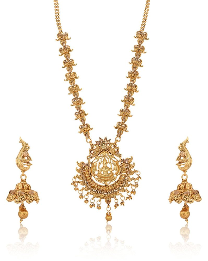 South Indian Temple Jewelry in Gold Tone Jewelry Set for Women