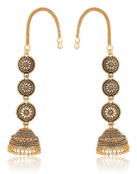 artificial gold base metal jhumki earrings for women