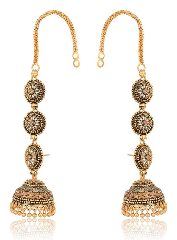 artificial gold base metal jhumki earrings for women-1