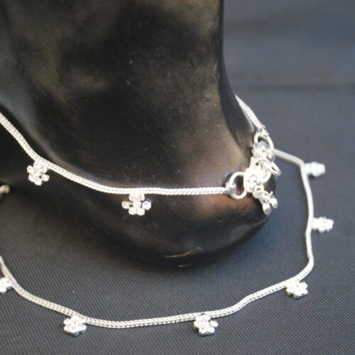 Traditional Silver Base Metal Anklet for Women-1