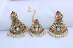 Artificial Blue, Pink, Aqua green, Yellow, White stones earrings with maang tikka