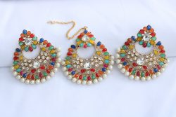 Earrings with maang tikka in multicolour - aqua green, blue, yellow, pink, white stones