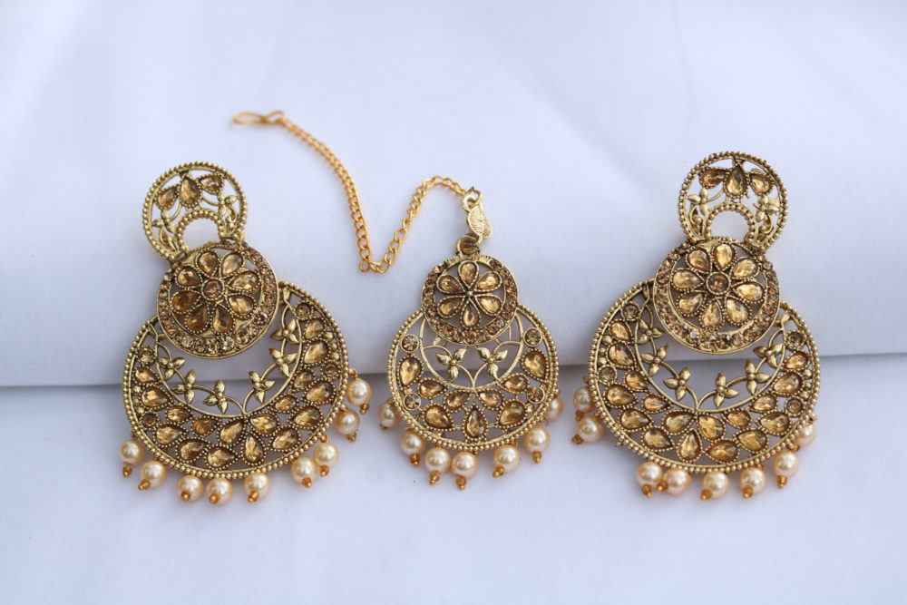 c9d588f66 Artificial Gold stone studded beautiful earrings with maang tikka