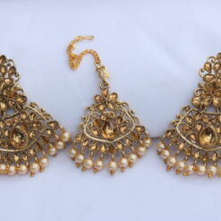 Designer Gold stone studded Rose gold pearls earrings with maang tikka