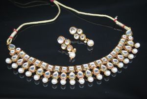 Traditional Kundan white uncut glass stones choker wedding necklace sets for women