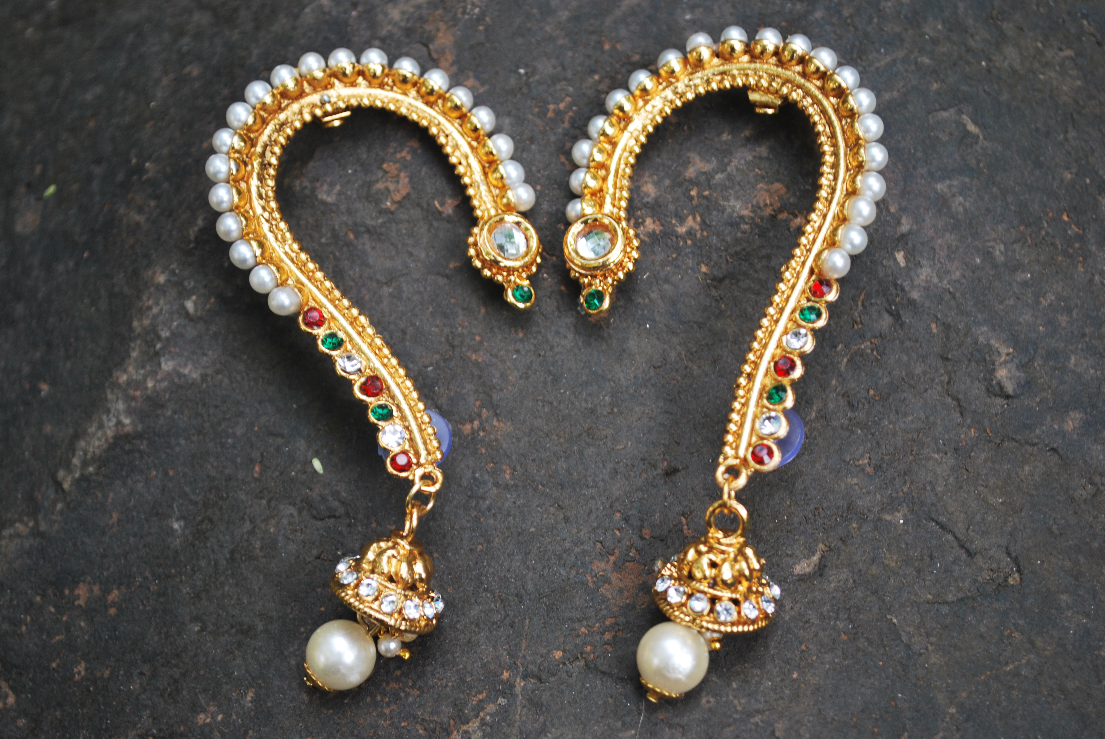 3309818e2 Red, green, white, golden multicolour earcuff earrings with jhumka