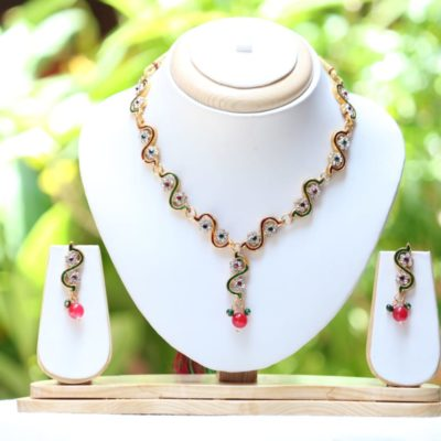 multicolour stone studded necklace set for 14 years