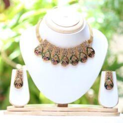 Peacock motif meenkari choker necklace set