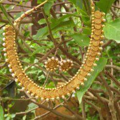 Copper jalebi design choker necklace set