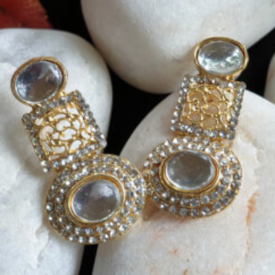 Gold Plated Handcrafted White colour Earrings