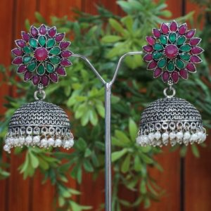 Multicolour green and purple oxidized earrings