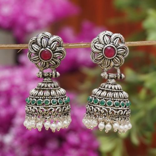 German silver maroon and green with white pearls oxidized earrings