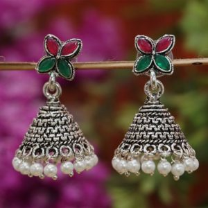 Green maroon floral german silver oxidized earrings with pearls